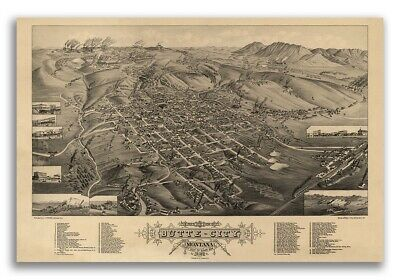 Butte City Montana 1884 Historic Panoramic Town Map - 16x24
