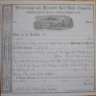 1850 Stock Certificate: 'Mississippi & Missouri Rail Road/Railroad Company' MS