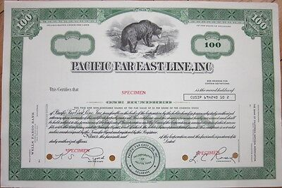 SPECIMEN Stock Certificate: 'Pacific Far East Line, Inc.' - Shipping, Ship Lines