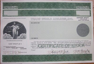 SPECIMEN Stock Certificate: 'Trans World Airlines, Inc.' / TWA Air Line Airplane