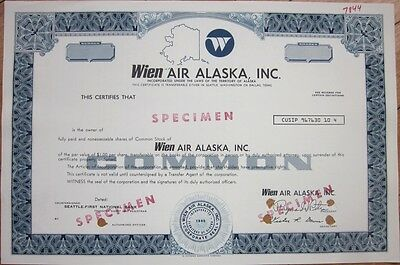 SPECIMEN Stock Certificate: 'Wien Air Alaska, Inc.' - Aviation/Airline/Air Line