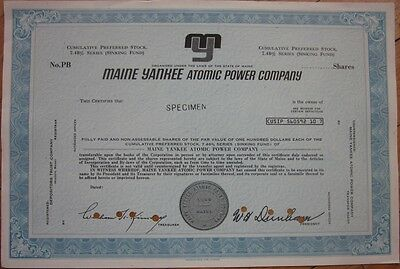 SPECIMEN Stock Certificate: 'Maine Yankee Atomic Power Company' - Nuclear Plant