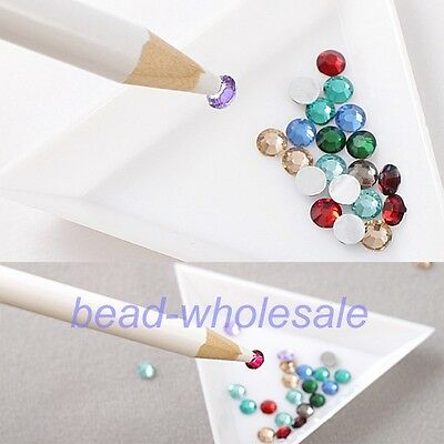 4PC Rhinestones Picker Pencil Wax White Pen For Nail Art Craft Gem Crystal