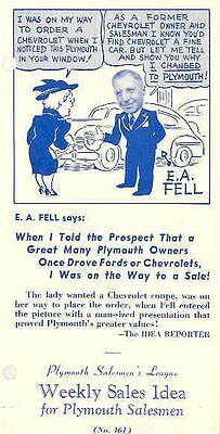 1941 Plymouth Weekly Sales Idea Brochure #461 72997-N4Y7P2