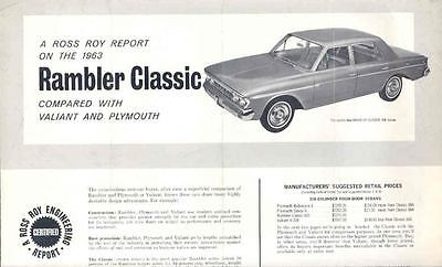 1963 AMC Rambler Classic Vs Plymouth Valiant Brochure 76424-871ZY2