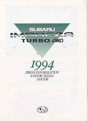 1994 Subaru Impreza Turbo Media Press 1ST Brochure WRX wr2482-DZI3PZ