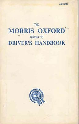 1959 1960 1961 Morris Oxford Series V Owner's Manual wr3290-A5KXWT