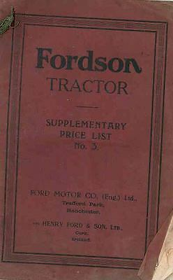 1922 Ford Fordson Tractor Parts List Book England wr3411-3VEPL1