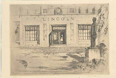 1935 Lincoln Factory Building Charles Hannan Etching Print Letter wr4685-WQEE5F