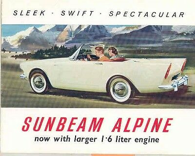 1962 Sunbeam Alpine Sales Brochure mw5270-SOUP5A