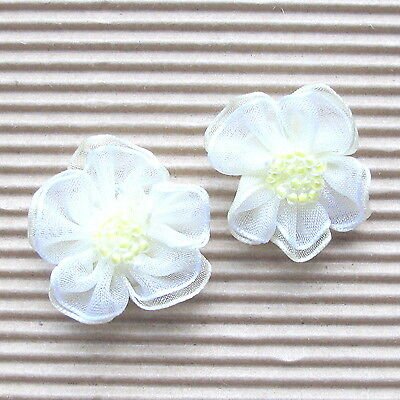 """US SELLER - 30 x 1.25"""" 2-Layer Organza Ribbon Flower Appliques w/Beads ST429Y"""