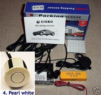CISBO Parking Reversing Sensor 4 Sensors Audio  Buzzer in Pearl White  colour