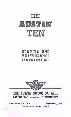 1948 Austin Ten Owner's Manual fo100-RZ5Z8W