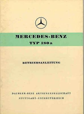 1958 Mercedes Type 180a Owner's Manual German fo1018-8SHE95