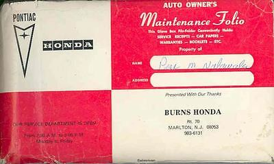 1985 Honda Accord Owner's Manual and Pouch fo1175-8L2WGO