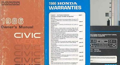1986 Honda Civic Wagon Owner's Manual and Pouch fo1176-BTD9OM