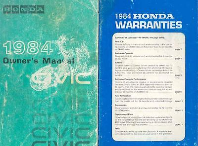 1984 Honda Civic Owner's Manual and booklet fo516-HJU5AE