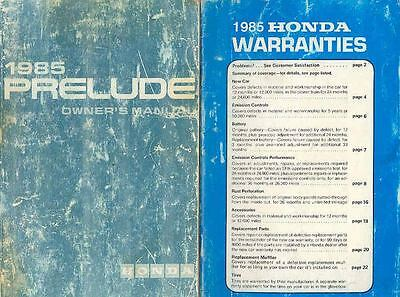 1985 Honda Prelude Owner's Manual and booklet fo523-7XPK6P