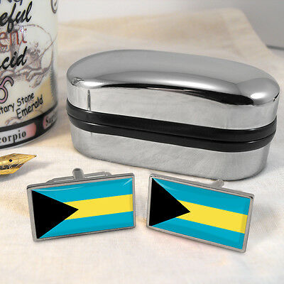 Bahamas Flag Cufflinks & Box