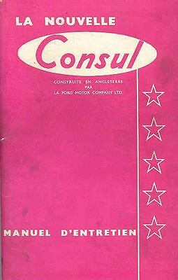 1957 Ford of England Consul Owner's Manual French fo555-I92E9G
