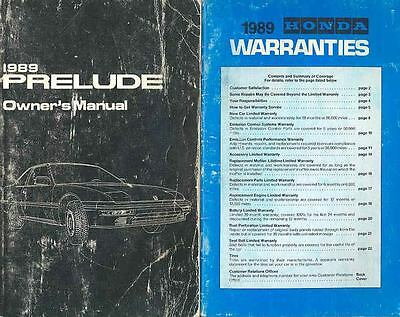 1989 Honda Prelude Owner's Manual with booklet fo618-QOV8PY