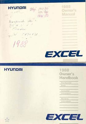 1988 Hyundai Excel Owner's Manual and Pouch fo666-38YWEY