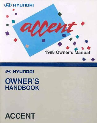 1998 Hyundai Accent Owner's Manual with booklet fo708-YZXNBK