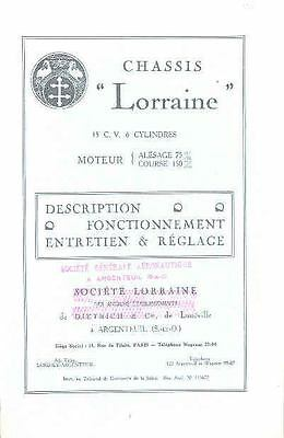 1928 Lorraine 15 CV 6 cylinder Owner's Manual French fo816-ALF7DQ