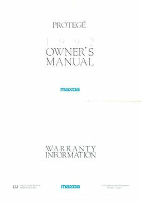 1992 Mazda Protege Owner's Manual and Pouch fo958-YA4F9L