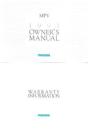 1993 Mazda MPV Owner's Manual and Pouch fo962-W25F1M