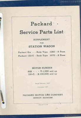 1937 Packard Six 120 Woodie Station Wagon Parts List Supplement Brochure wr9481