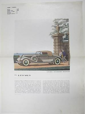1934 Lincoln V12 Convertible Roadster Factory Ad Proof Poster wr9608