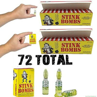 (72) STINK BOMBS Glass Vials - Fart Bomb Gag Prank Pooter Rotten Eggs