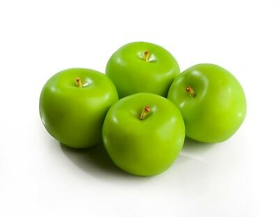 4 Large Best Artificial Weighted Green Apples Decorative Realistic Plastic Fruit