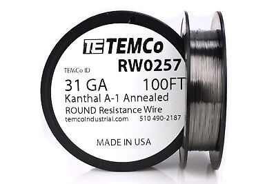 TEMCo Kanthal A1 wire 31 Gauge 100 Ft Resistance AWG A-1 ga