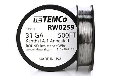 TEMCo Kanthal A1 wire 31 Gauge 500 Ft Resistance AWG A-1 ga