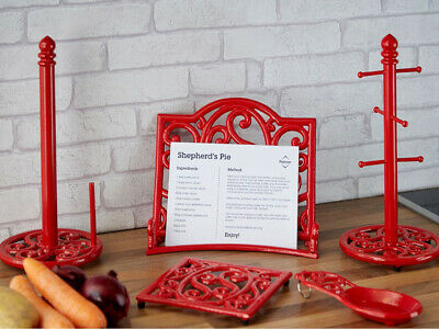 New Red Cast Iron Trivet Mug Tree Kitchen Roll Holder Spoon Rest Cookbook Stand