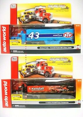 Auto World Kiss Racing Rigs With Trailer Release 6 Set Of 2 Slot Trucks Sc270