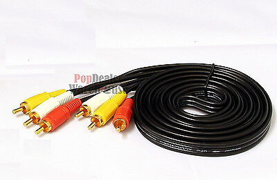 RCA 3 to 3 Triple Phono Audio Video AV Cable Lead (3m)