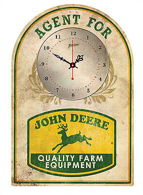 JOHN DEERE  RUSTIC  TIN SIGN CLOCK Agent for..