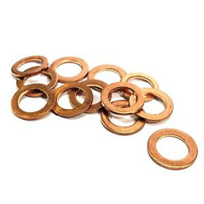 10 X 14Mm Copper Sump Plug Washers M14 Washer Suits Vauxhall Vw Audi Opel  Kw136
