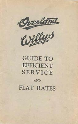 1925 Willys Overland Knight Brochure Service Flat Rates 93873-VEXAWG