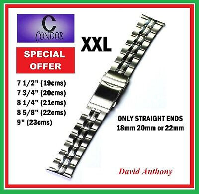 CONDOR - SPECIAL - EXTRA LONG Stainless Steel Watch Bracelet, 7.5inch to 9inch