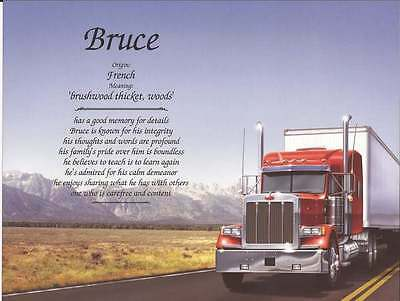 Personalized Name Meaning For Truck Driver Unique Gift Idea Birthday Christmas