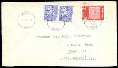 FINLAND TO ARGENTINA Cover w/Seal '62 VF