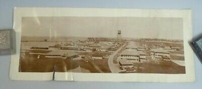 """16 ¾"""" X 7"""" Panoramic Photo Unidentified Tropical US Naval Port c1920"""