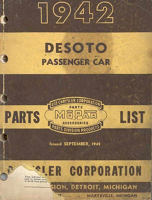 1942 DeSoto Passenger Car Chassis & Body Illustrated Parts Book I167-XO4LII