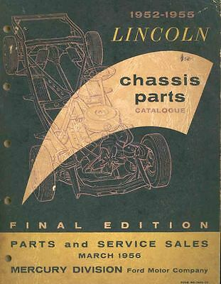 1952 1953 1954 1955 Lincoln Chassis Illustrated Parts Book I377-LL5LS2