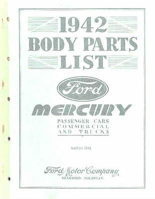 1942 Ford Mercury Body Illustrated Parts Book I397-35F2RN