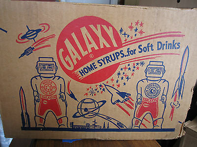 Vintage 1950s GALAXY Home Syrups..for Soft Drinks Box! 5/6 complete. Soda Carton